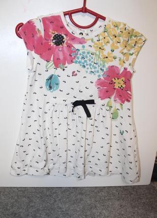 Хлопковое платье catimini с оригинальным принтом муравьями и цветами)