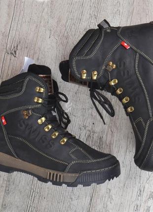 Ботинки мужские зимние кожаные swiss andermatt черные завышенные борты