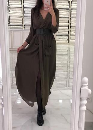Платье рубашка, шифонофовое платье на запах, туника