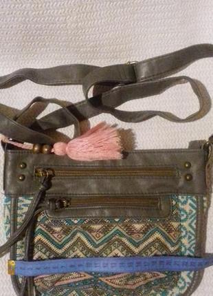 Холщовая сумка с вставками из  кожзама