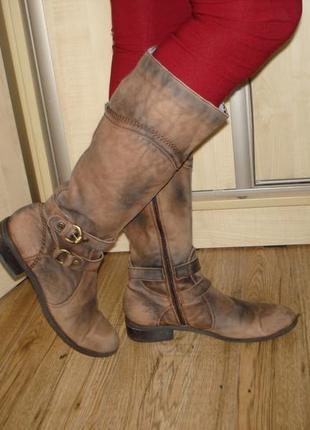 Кожаные утепленные сапоги бренд janet d