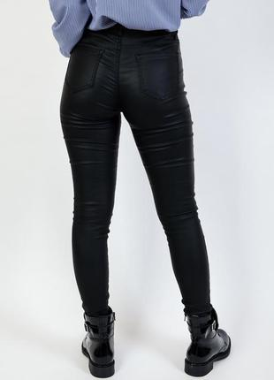 Брюки кожаные стильные под кожу с вощеным эффектом скинни узкие лосины женские2 фото