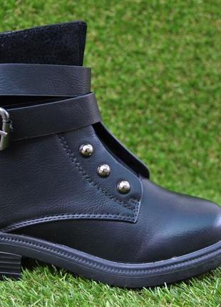 Детские демисезонные сапоги сапожки полусапоги кожаные черные р31 - 36