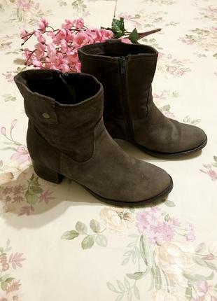 Ботинки демисезонные натуральный замш /полуботинки на удобном каблуке