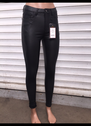 Брюки кожаные стильные под кожу с вощеным эффектом скинни узкие лосины женские4 фото
