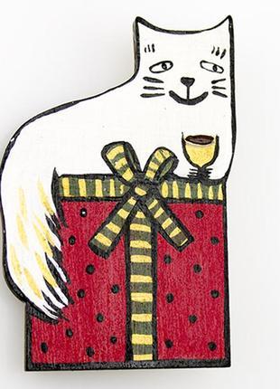 Брошь, ручная роспись уютный котик