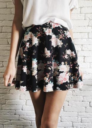 Юбка в цветочек, юбка разлетайка на резинке