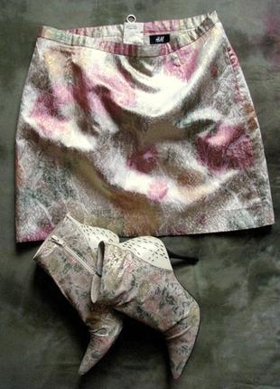 Нарядная шикарная юбка мини h&m из парчи