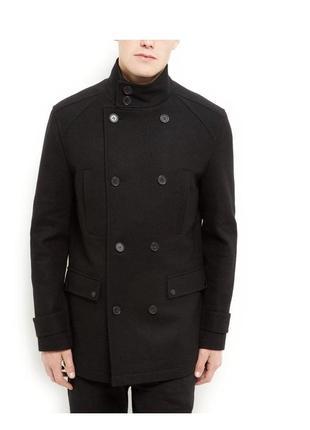 Стильное мужское пальто шерстяное двубортное на пуговицах, полупальто классика
