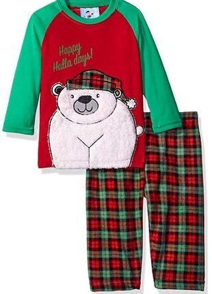 Теплая пижама bunz kids на мальчика 2 года флис