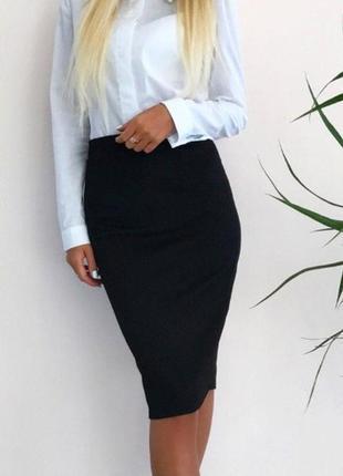Стильная юбка карандаш черная из качественного трикотажа,размер xs,s,m,l.осень-зима-весна