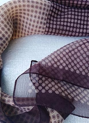 Шарф шаль осень в горошек бежевый коричневый