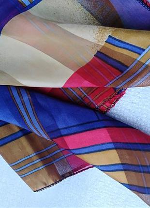 Шарф шаль осень в полоску разноцветный атлас