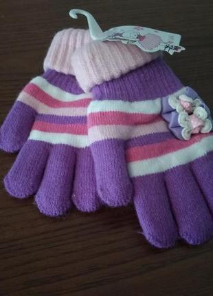 Очень красивые, двойные перчатки для девочки.