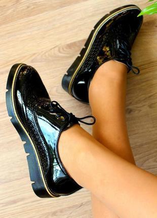 Чёрные лаковые туфли - оксфорды на шнурках 36 р.