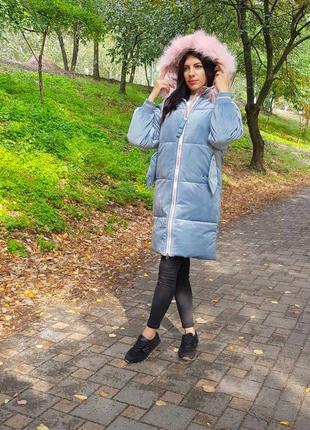 Женская бархатная куртка голубая с капюшоном5 фото