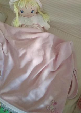 Флисовый плед в кроватку/коляску для девочки
