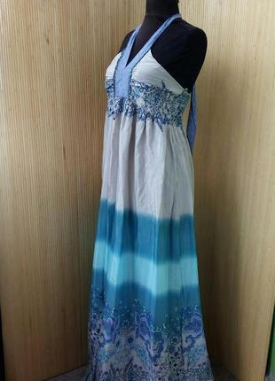Длинное платье сарафан под грудь цветочный принт brahma