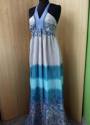 Длинное платье сарафан под грудь цветочный принт brahma2