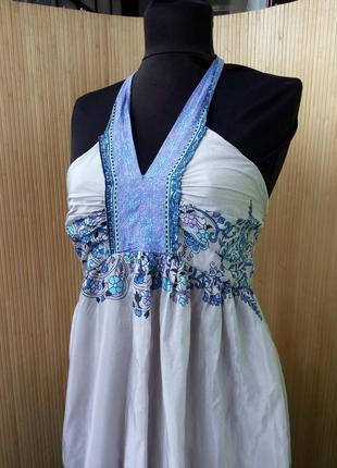 Длинное платье сарафан под грудь цветочный принт brahma3