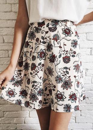 Трикотажная юбка, юбка разлетайка, юбочка в цветочек