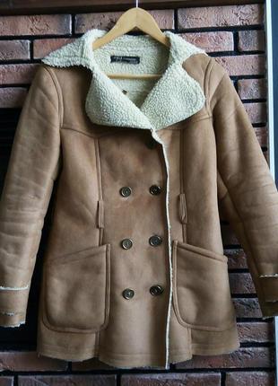 Дубленка коричневая куртка пальто на овчине бежевая бомпер парка шуба
