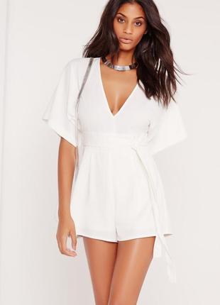 Белый качественный комбинезон шортами кимоно missguided