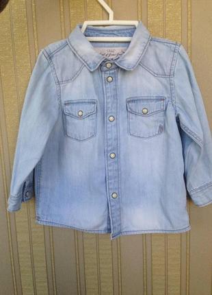 Джинсова рубашка 6-9 мес , джинсовая рубашка ,h&m