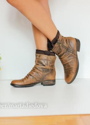 Кожаные ботинки полусапожки, два варианта носки, натуральная кожа