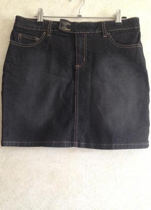 Чёрная  джинсовая юбка мини короткая