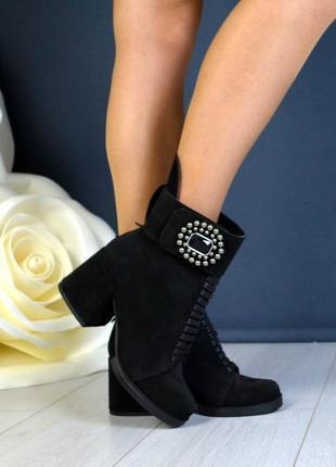 36-40 рр ботинки, ботильоны черные натуральная замша, кожа