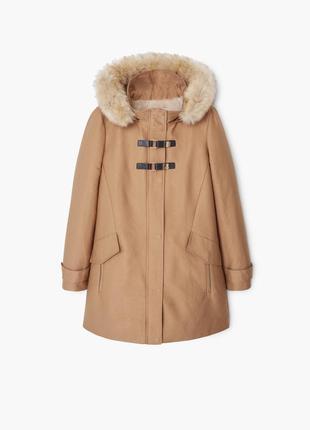Куртка парка коричневая с капюшоном с мехом mango
