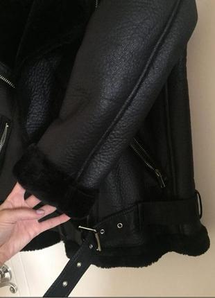 Куртка косуха дубленка авиатор в байкерском стиле zara6 фото