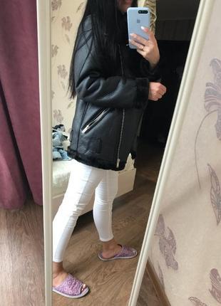 Куртка косуха дубленка авиатор в байкерском стиле zara9 фото