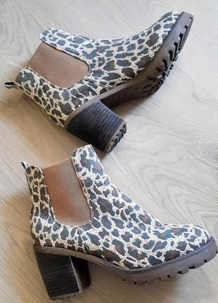 Модные леопардовые ботильены на тракторный подошве и каблуке с резинками по бокам