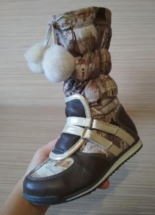 Зимние сапожки, сапоги, ботинки на девочку натуральный мех, кожа, р. 29