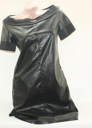 Платье кожзам почти новое трапеция сзади замок вечернее, на новый год (к000)