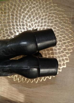 (35,5/23см) next! кожа! классические ботильоны, базовые полусапожки на удобном каблуке2 фото