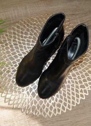 (35,5/23см) next! кожа! классические ботильоны, базовые полусапожки на удобном каблуке4 фото