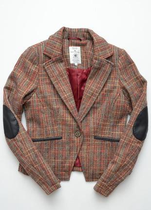 Пиджак жакет tom tailor в клетку с заплатками , теплый, шерсть