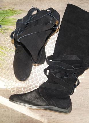 (37/24см) замша! комфортные сапоги ботфорты на низком ходу с ремешками