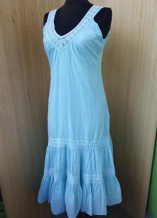 Нежное голубое платье тонкий хлопок с кружевом est-ell?