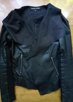 Кожаный кардиган, куртка, курточка