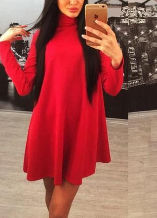 Платье осень (хс, с, м, л) балахон разлетайка черное, красное, синее.