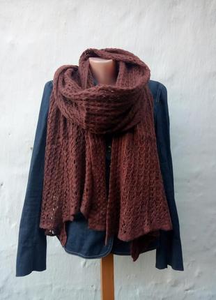 Красивый мягкий теплый шоколадный вязаный шарф сетка,палантин,платок.