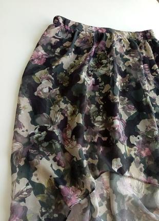 Оригинальная шифоновая юбка в цветочный принт