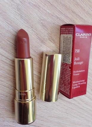В наличии губная помада clarins joli rouge оттенок 758 оригинал clarins