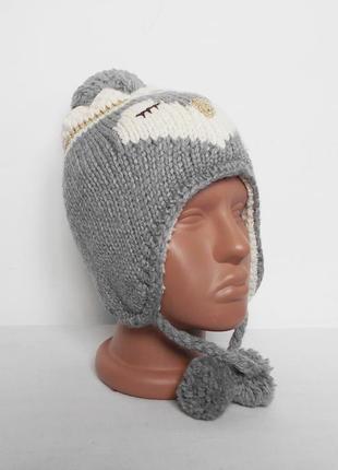Вязаная теплая зимняя шапка ушанка с бубоном с помпоном yd