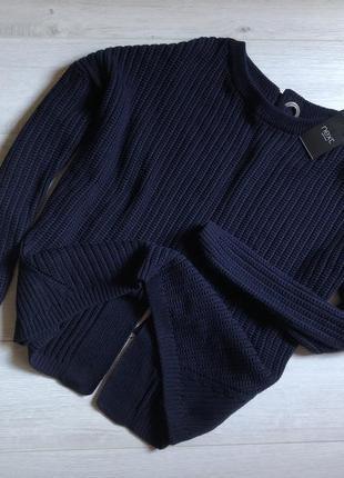 Шикарный свитер синего цвета с красивой спинкой next