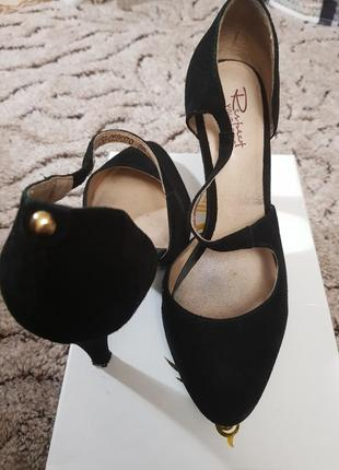 Замшевые, черные туфли